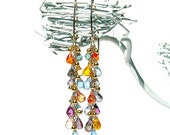 Multicolor Rainbow Quartz Dangle Earrings / 14K Gold / Wire Wrapped / Teardrops / Boho / Gifts For Her / Purple / Blue / Pink / Red / OOAK