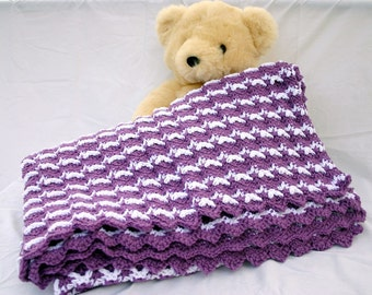 Crochet afghan purple white ripple throw blanket home decor lap couch cover bedding winter coverlet stripes washable acrylic yarn