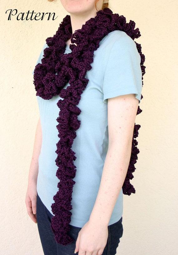 Crochet Pattern Lace Ruffle Scarf : Twisty ruffle scarf PDF crochet PATTERN loopy lace winter