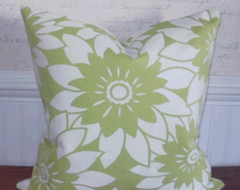 Decorative Pillow: HGTV Lime Green and Winter White Floral 18 X 18 Accent Throw Pillow Cover