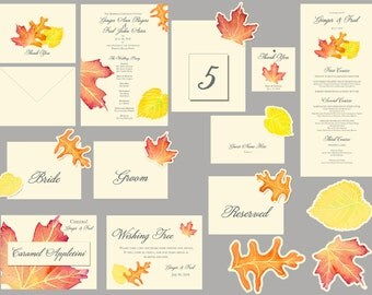 Wedding paper reception suite - Fall watercolor Leaves - place cards, decorations, table numbers, seating, menus