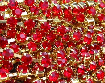 3 feet Light Siam Red 3mm 12SS Rhinestone  gold plated brass chain trim - middle east stone - 36 inches