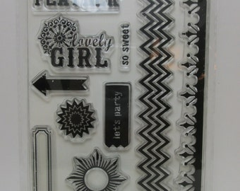 My Minds Eye - Indie Chic - acrylic stamp set - NIP -