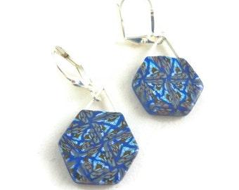 Blue clay dangle earrings of polymer