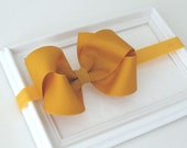 Mustard Yellow Gold Hair Bow, Baby Headband, Thanksgiving Bow Headband for Infants, Baby Girls, Toddlers, Young Girls Hair Accessory