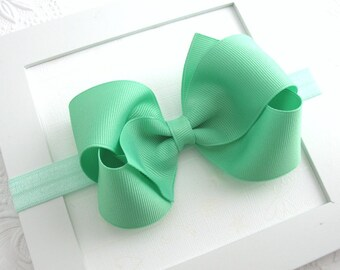 Mint Green Baby Bow Headband, Large 4 inch Mint Hair Bow Headband for Newborn, Baby Girl, Toddler, High Quality Bow, Girls Hair Accessories