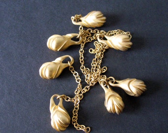Matte Gold Metal Bead Pendant Charm on Short Gold Chain