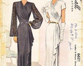 """Vintage 1940s Dress Sewing Pattern - McCall 6621 - Misses' Dinner or Evening Dress - Sz 42/Bust 42"""""""