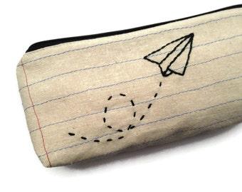 Paper Airplane Zipper Pouch Pencil Case - Notebook Paper Fabric - Fun Gift - Makeup Bag