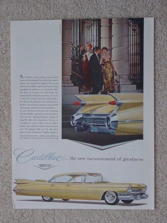 "Vintage 1959 Magazine Advertisement for "" 1959 Cadillac "" GM General Motors"