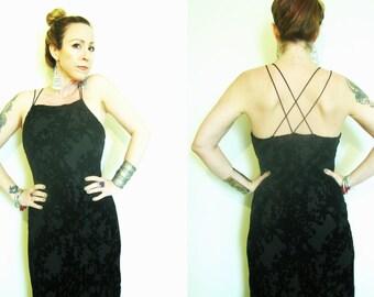 Vintage 90s 1990s burn out burnout black velvet maxi dress boho vamp goth bias cut criss cross open back Express
