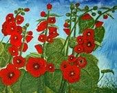 Hollyhock Art Quilt
