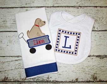 Monogrammed Puppy Burp Cloth and Bib Gift Set for Baby Boy