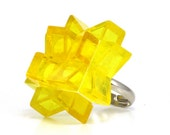 Yellow star ring made with LEGO bricks