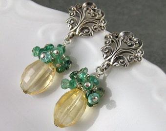 Citrine, emerald earrings, handmade artisan Sterling silver post earrings May birthstone-OOAK