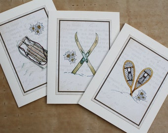 Winter Sports Watercolors Set of 3 Greeting Cards. Sled Skis Snowshoes Vintage Style Old-Fashioned