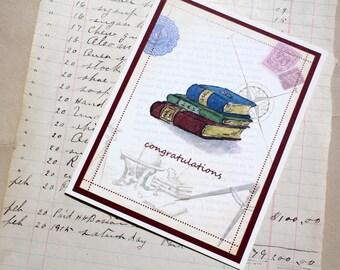 Graduation Congratulations Vintage Books, Adventure, Travel, Trip Handmade Greeting Card