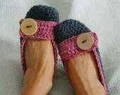 Women's Crochet Flats Slippers Dark Gray and Heather Rose