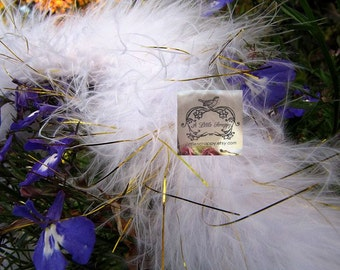 Marabou Boa Feathers White & Gold Tinsel Shimmer