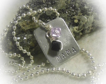 Mama Hand Stamped Silver Aluminum Necklace