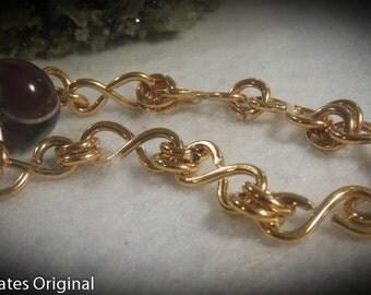 Agate Bronze Chain Bracelet size 7
