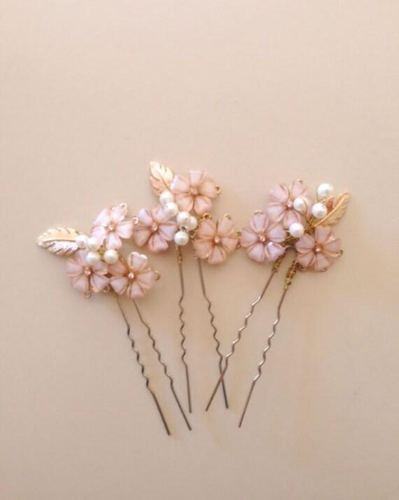 A set of three Blush Pink and Gold Wedding Bridal Hair pins fascinator  Bridal hair pins - Last ones