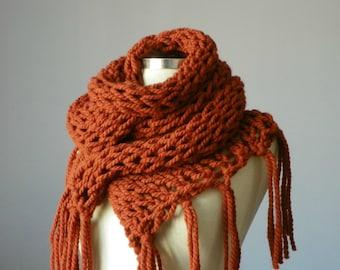 rusty orange, infinity tube knit scarf, loop neckwarmer fashion women accessories,scarf,cowl