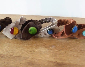 Leather Cuff Lot of 6 Deer leather braided bracelet with handmane glass button closure