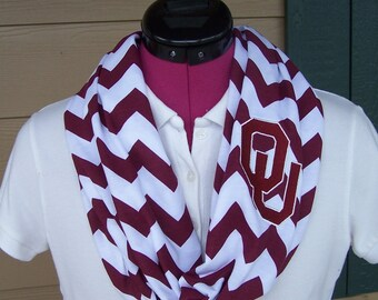 Oklahoma University (Sooners)  Game Day Chevron Infinity Scarf  Knit Jersey