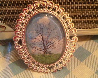 "Original Photography ""The Lonely Tree"" Glass Dome Cameo Necklace"