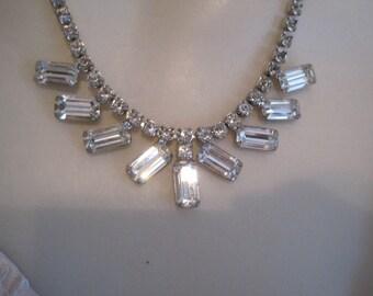 Vintage Weiss Rhinestone Necklace Bride Bridal Wedding