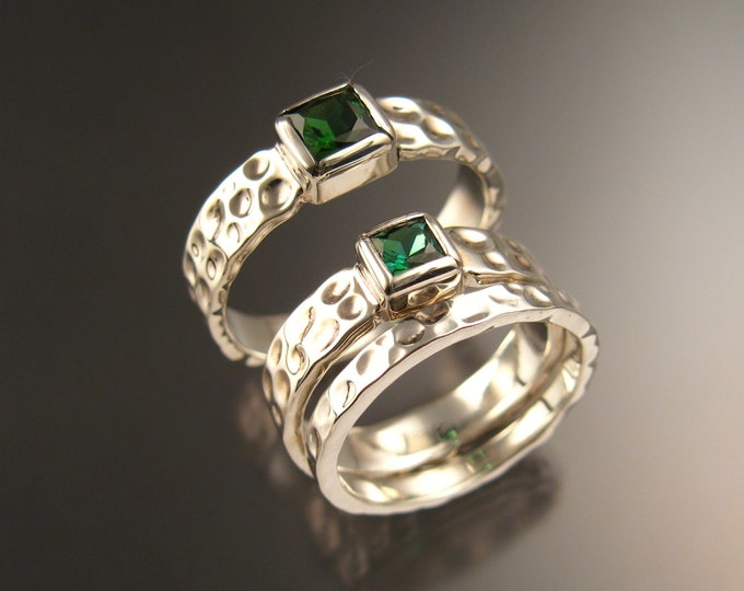 Green Tourmaline square Moonscape three ring His and Hers Emerald substitute Wedding rings set in 14k white gold in your size