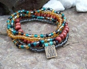Tribal Bohemian Good Life Bracelets - Beaded Stretch Stack Set with Antiqued Brass Fish Stamped Charm