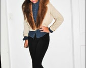 RESERVED Kathryn G O R G E O U S 1940s Tan Beige Diamond Crescent Fur Sweater Cardigan