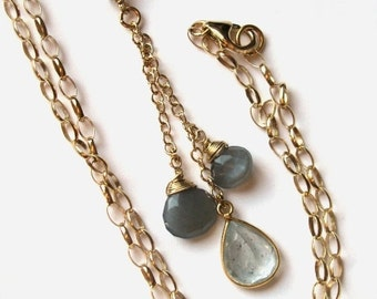 Steel Blue Moss Aquamarine and Grey Gray Moonstone Necklace in Gold