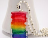 Necklace Pendant Colorful Watercolor Rainbow Painting