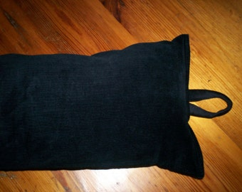 Black Corduroy Fabric Draught Excluder - choose your length - plus extra long for large door