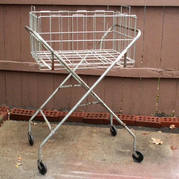 Vintage Metal Cart: Vintage Metal Rolling Laundry Basket Cart By LOOKINGforYESTERDAY