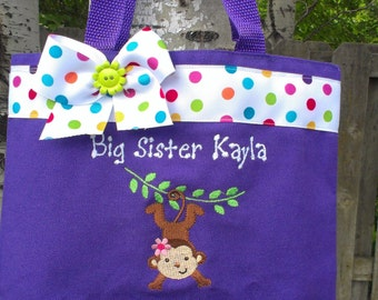 Big Sister tote bag PURPLE- girl monkey-  personalize with name at no extra charge