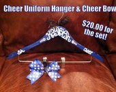 custom painted Cheer Uniform Hanger with CHEER BOW set, cheerleader gifts