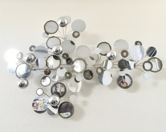 Vintage Mid Century Modern C. Jere Raindrops Signed Chrome 1972 Wall Sculpture