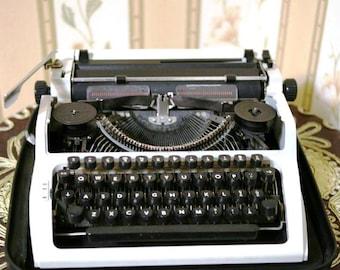 Vintage Soviet German Portable Typewriter - Working - Robotron - GDR - Grey - 1980s - from Russia / Soviet Union / USSR