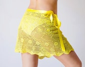 Bright yellow Crochet beach wrap skirt Upcycled from  hand dyed vintage tablecloth