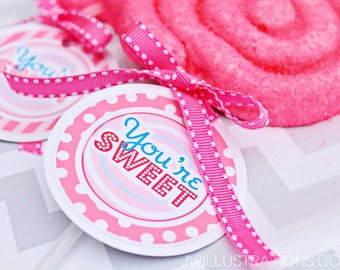 You're Sweet Printable Valentine Tags - Cupake Toppers - Printable Candy Party Favors - Pink Candy Party Printables