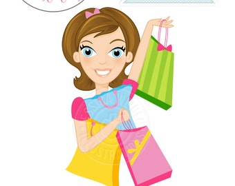 BRUNETTE Deal Shopper Woman Character Illustration - Commercial Use OK - Woman Shopping, Woman with Shopping Bags