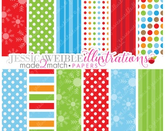 Frosty Friends Cute Digital Papers - Commercial Use OK - Christmas Backgrounds, Christmas Papers, Holiday Digital Patterns