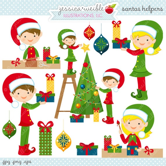 Santas Helpers Cute Digital Christmas Clipart - Commercial Use OK - Cute Elves, Christmas Elf, Christmas Graphics