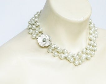 Mother of Pearl Triple Strand Pearls Wedding Necklace Flower Motif Bridal Jewelry