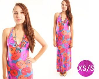 CALI 70s Bright Bold Neon Retro Floral Nylon Maxi Dress Swim Summer Babe Hip Indie Hippie Boho Gypsy Abstract Halter Top Goddess XS Small