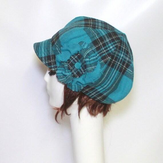 Newsboy Hat Flower, Beret Hat, Aqua Plaid Wool Cap, Winter Hat,